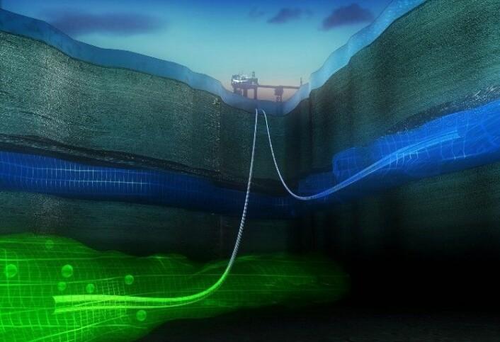 CO2-lagring i havbunnen under Sleipner. (Foto: Alligator film /BUG / StatoilHydro)