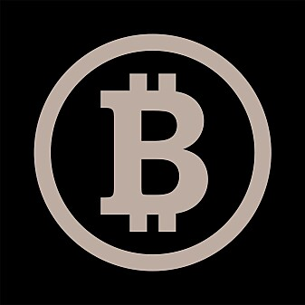 Slik ser symbolet for bitcoin ut.