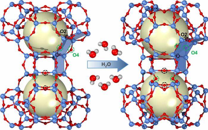 Til venstre ser du et helt tørt sapo-37-molekyl. Til høyre et fuktig et. Hvis du studerer de to tegningene veldig nøye, kan du se noen små, men viktige forskjeller.