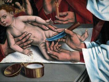 Circoncision sur le retable des Douze Apôtres de Friedrich Herlin de Nördlingen, 1466.Rothenburg ob der Tauber