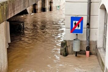 I årene fremover er det beregnet at nedbørsmengden i Norge vil øke. Dette vil føre til flere oversvømmelser og flommer. (Foto: Shutterstock)