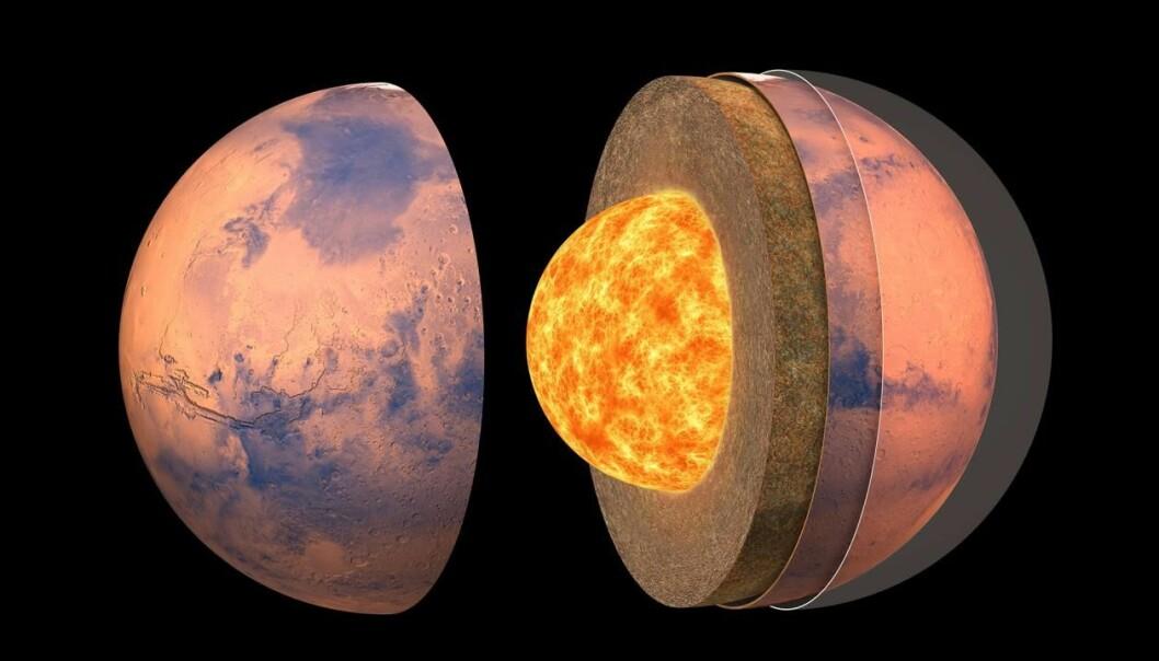 Slik mener forskere Mars ser ut på innsiden. Planten har en stor kjerne og en enklere struktur på mantelen enn jorden.