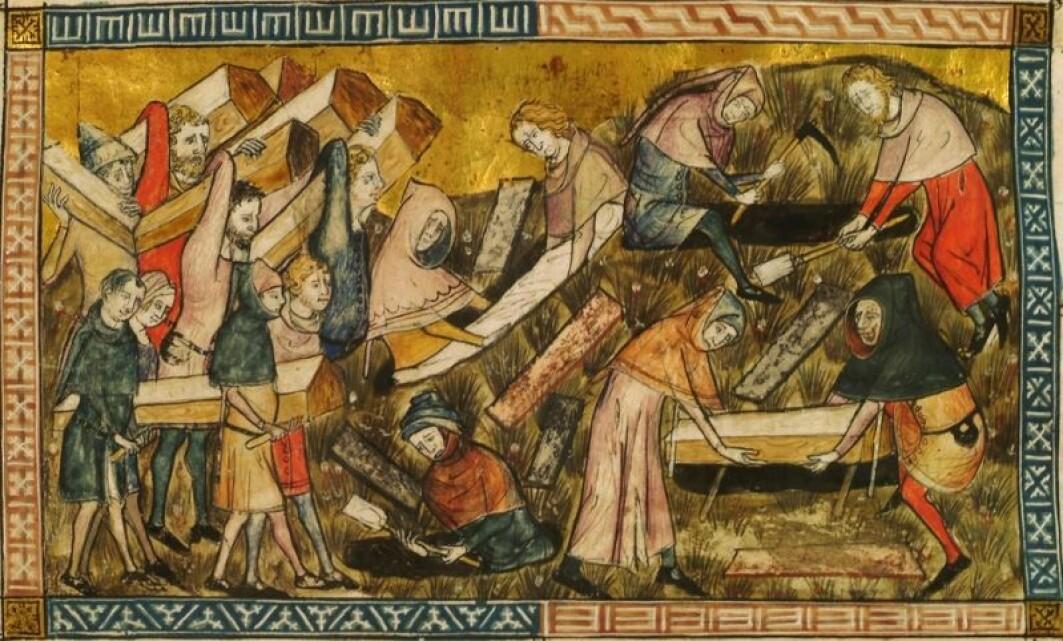 Kunstneren Pierart dou Tielt (1340-1360) levde i Europa da svartedauden rammet. Her har han malt innbyggerne i byen Tournai, mens de begraver de døde.