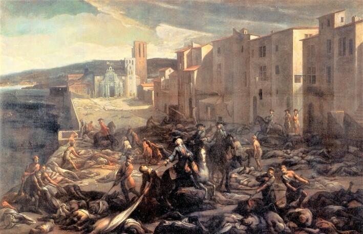 Den siste store pest-epidemien i Europa rammet i den franske byen Marseille i 1720. Bildet er malt av Michel Serre, som levde på den tiden.