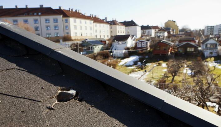 Dette meteoritt-fragmentet havnet i taket på en kolonihage-hytte på Rodeløkka i Oslo.