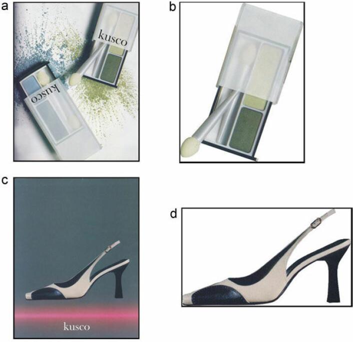 Fiktiv reklame for det ikke-eksisterende merkenavnet Kusco brukt i den nederlandske studien. Liksom-reklame for øyeskygge og sko (oppe og nede til venstre) trigget konsument-tanker hos deltagerne i studien mens nøytrale produktfoto (til høyre) ikke gjorde det.