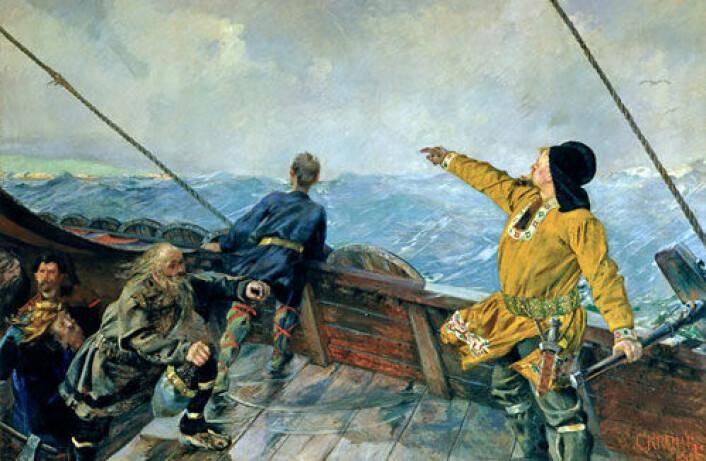 """Islandsk genstudie gir funn som kan forklares med at indianere har fått barn på Island etter å ha blitt bragt dit av norrøne sjøfare. Bildet er Christian Kroghs maleri """"Leiv Eiriksson oppdager Amerika"""". (Illustrasjon: Wikipedia Commons)"""