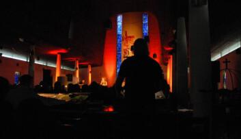 Under Steinkjerfestivalen 2008 ble Steinkjer kirke brukt som rom for festivalopplevelser. (Foto: Morten Stene)