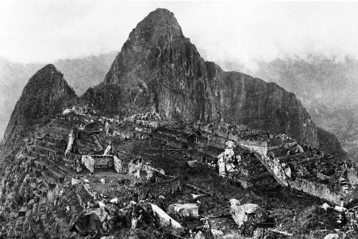 Machu Picchu i 1912, da Hiram Binghams besøk gjorde at verden ble oppmerksom på fjellruinen.
