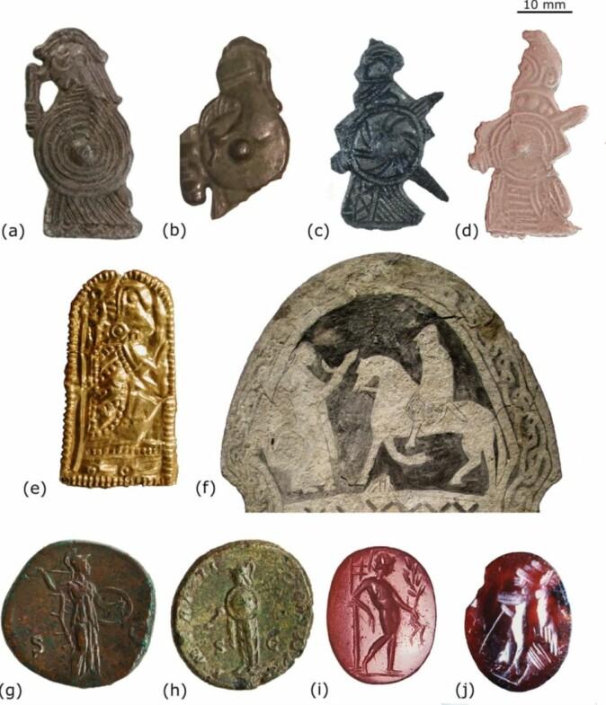 Den væpnede kvinnen fra Ribe (d) minner mye om andre funn, blant annet romerske mynter (g-j).