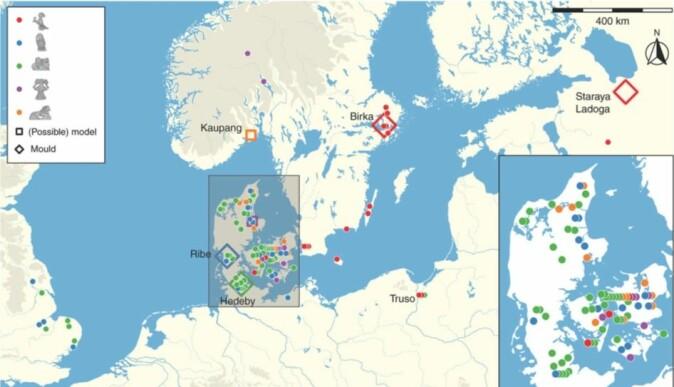Kart over like amulettfunn fra Nord-Europa og hvor de er funnet.