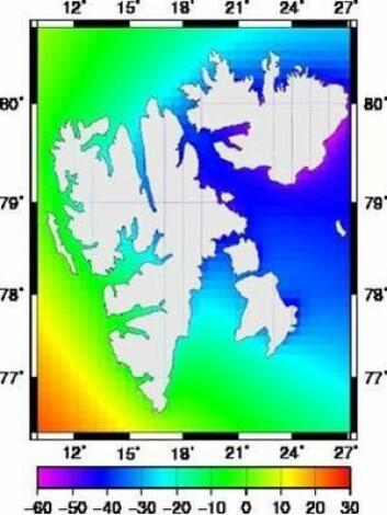 Figuren viser havnivået rundt Svalbard om hundre år. Havnivået er angitt i centimeter i forhold til dagens nivå. Der landet stiger raskest vil havet synke mest. På vestkysten av Svalbard vil hav og land stige omtrent like mye og endringene er derfor små. (Statens kartverk)