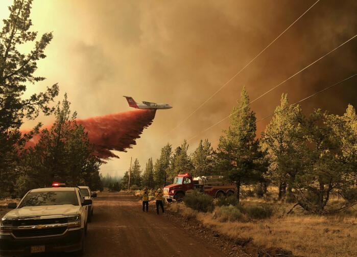 Et brannfly deltar i arbeidet med å slukke en skogbrann i Oregon i USA 11. juli. Den ekstreme hetebølgen vest i Canada og i de amerikanske delstatene Oregon og Washington ville vært omtrent utenkelig uten menneskeskapte klimaendringer, ifølge forskere.