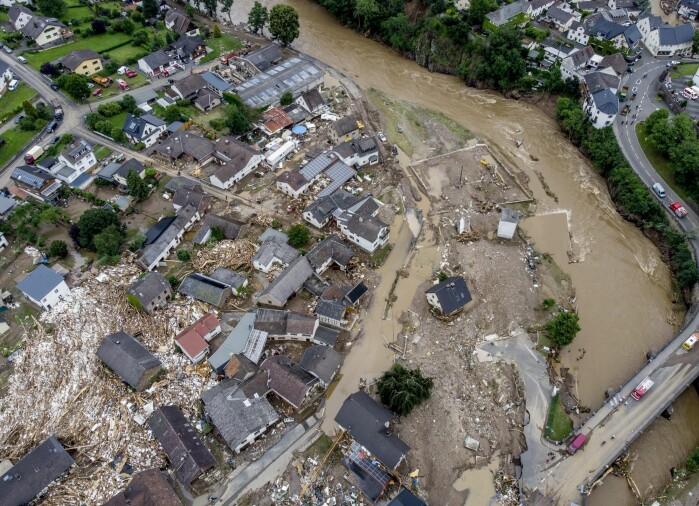 Et boligområde rasert av flomvannet ved elva Ahr i Schuld i Tyskland 15 juni. Flommen i Tyskland og Belgia skyldtes ekstrem nedbør. Over 200 mennesker omkom i flomkatastrofen.