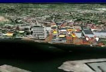 """""""3D Tønsberg. Tønsberg er testområde for de nye 3D-kartene. Her er byens sentrum slik det kan se ut på lommePCen. (Foto:TellMaris)"""""""