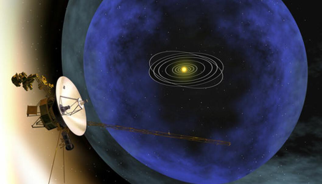 Voyager på vei ut av heliopausen (Illustrasjon: NASA)