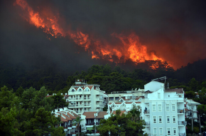 A recent wildfire in the forest near the resort town of Marmaris, Turkey.