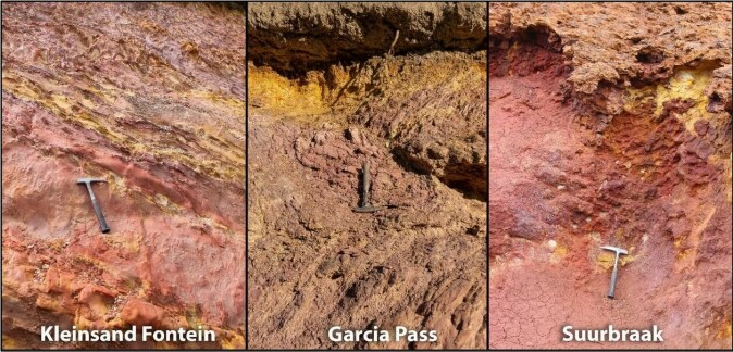 OCHRE OUTCROPS: An example of some of the ochre outcrops E. Velliky sampled last field season February to March 2020.
