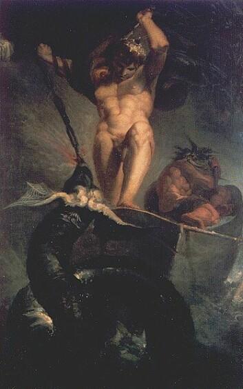 Tor slåss med Midgardsormen under Ragnarok. (Maleri: Johann Heinrich Füssli)
