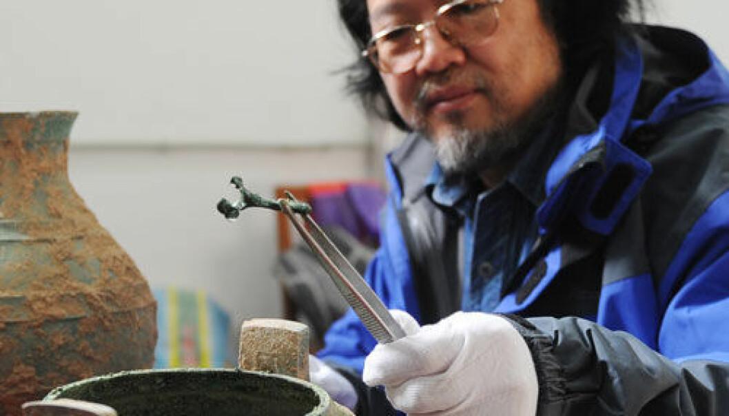 Suppegryte funnet i grav, Xian, Kina. Foto: Zhai Xiaoxue/Xinhua/Photoshot