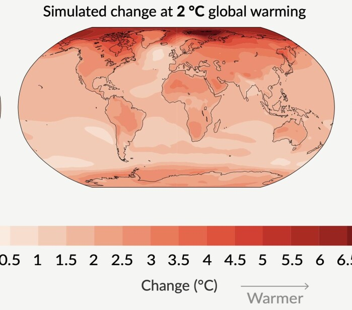 "<span class="" font-weight-bold"" data-lab-font_weight_desktop=""font-weight-bold"">Figur 1:</span> Forventet endring i overflatetemperatur ved 2 grader global oppvarming. (Fra den nye IPCC-rapporten)"