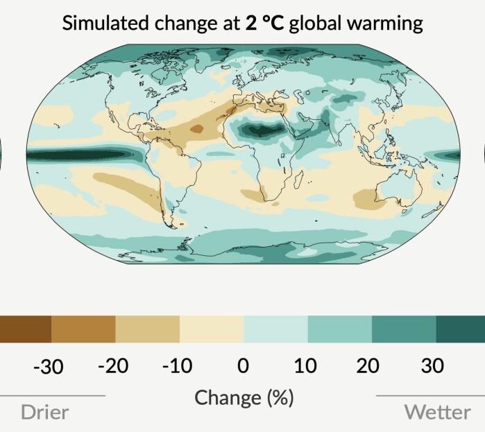 "<span class="" font-weight-bold"" data-lab-font_weight_desktop=""font-weight-bold"">Figur 2: </span>Forventet endring i årsnedbør ved 2 grader global oppvarming. (Fra den nye IPCC-rapporten)"