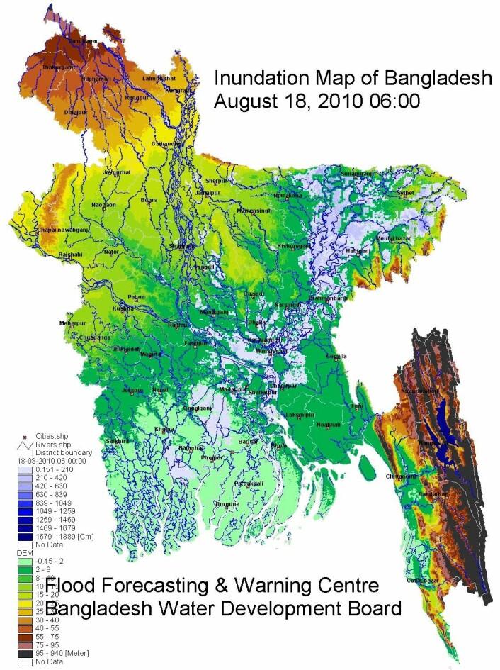Oversvømmelseskart over Bangladesh. De blå områdene viser hvor oversvømmelsene er verst, men det er ifølge Jacob Høst-Madsen ikke noen katastrofe så lenge befolkningen er forberedt på at det vil skje. (Grafikk: ffwc.gov.bd)