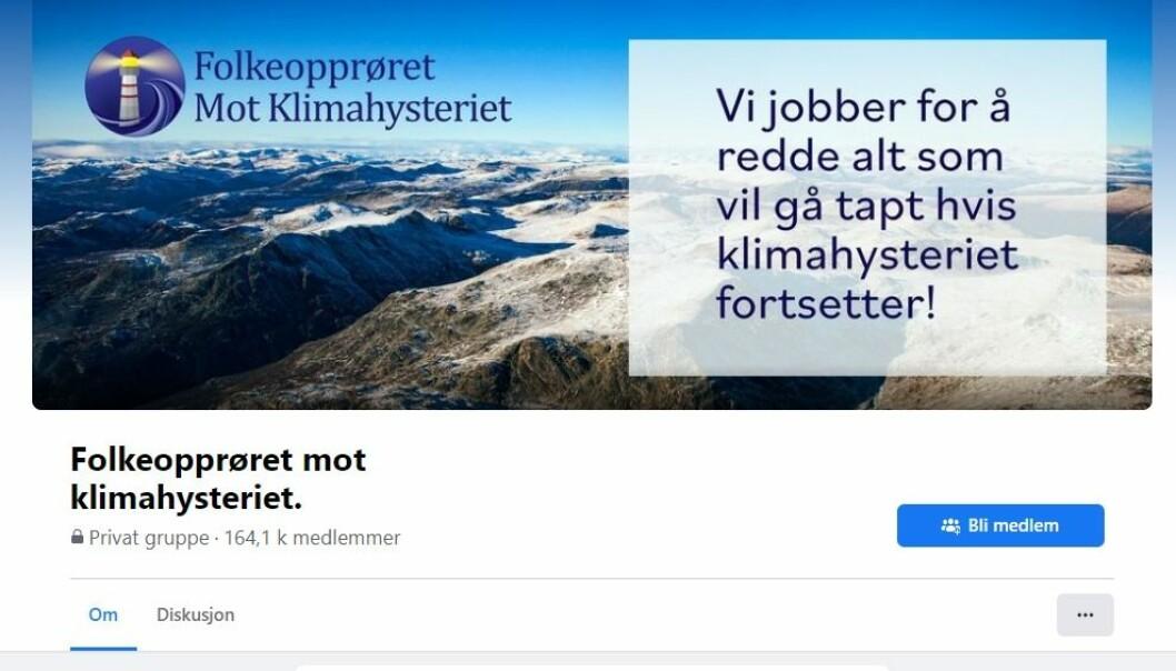 Den norske Facebook-gruppa «Folkeopprøret mot klimahysteriet» har mer enn 164 000 medlemmer.