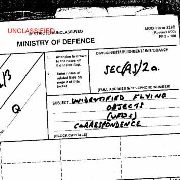 """""""Faksimile fra en av rapportene som nå er frigitt av det britiske forsvarsdepartementet. (National Archives)"""""""