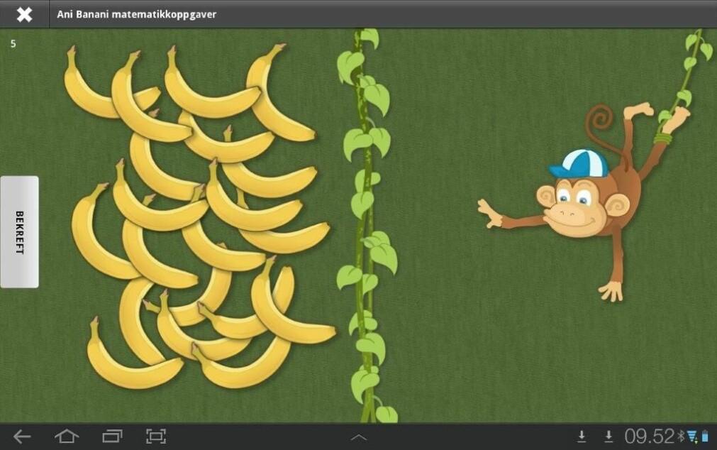 I nettbrett-testen Ani Banani Matte-Test får barna blant annet i oppgave å gi et visst antall bananer.