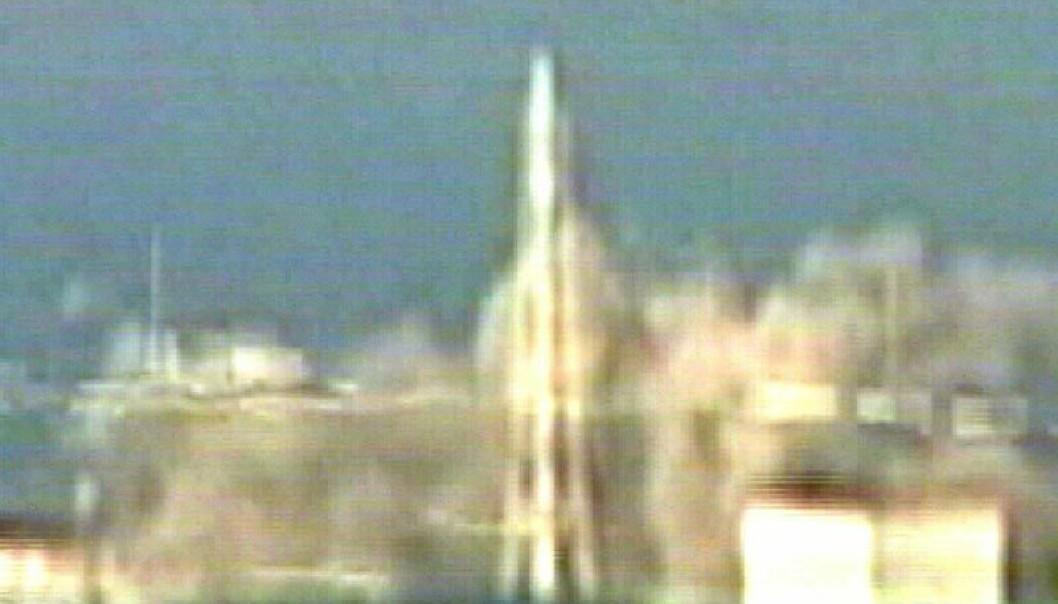 Fukushima-reaktor 1 eksploderer 15. mars 2011 (Foto: Scanpix/ABC TV/EPA)