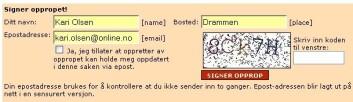 Eksempel på nettsted som krever at man tyder en visuell anti-SPAM-kode for å kunne signere (www.opprop.no).