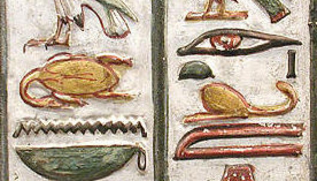 Hieroglyf fra Seti den førstes grav. Nederst i første kolonne til venstre for de tre strekene finner man hieroglyfen for hjerte. Hieroglyfen for øye ser vi i andre kolonne. (Foto: Jon Bodsworth/British Museum/Wikimedia Commons)