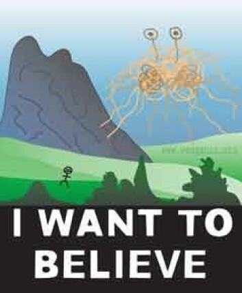 """""""Spaghettimonsterkirken har intet billedforbud, og har et klart bilde av hvordan Guddommen ser ut. Bildet er hentet fra www.venganza.org"""""""