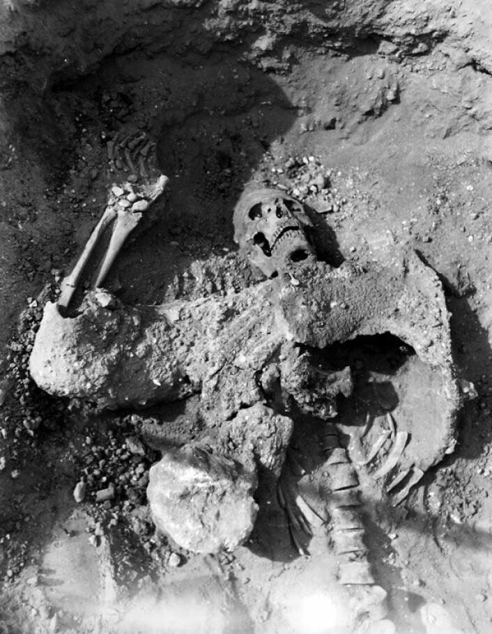 Levningene av den enslige persiske krigeren, funnet i tunnel under murene til Dura-Europos. Han er kledd i brynje, med hjelm og sverd like ved. (Foto: Yale University Art Gallery, Dura-Europos Excavation Archives)