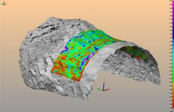 Ingeniørgeologene kan nå få et detaljer bilde av bergoverflaten. (Bilde: NGIInfo)