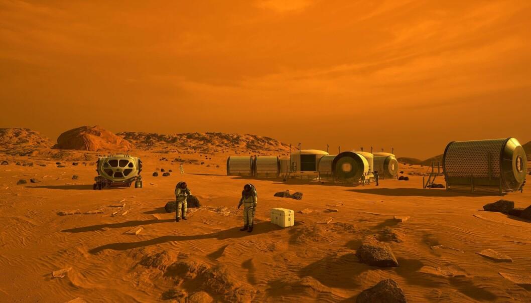Slik kan det se ut når de første menneskene som lander på Mars. Men klarer de å komme seg dit uten å bli skadet av stråling fra sola og verdensrommet?