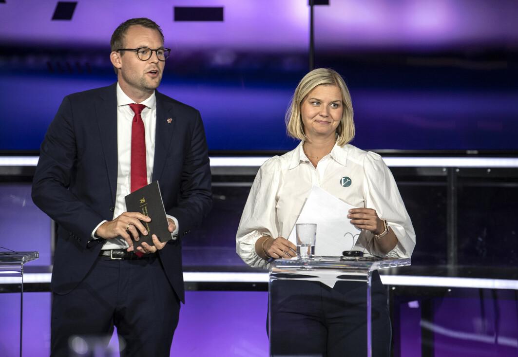 Kjell Ingolf Ropstad sitt KrF og Guri Melby sitt Venstre kan begge bli ofre for sperregrensen ved årets valg. Det samme kan MDG og Rødt. Er det rettferdig? Her fra partilederdebatten på TV2 tirsdag kveld.