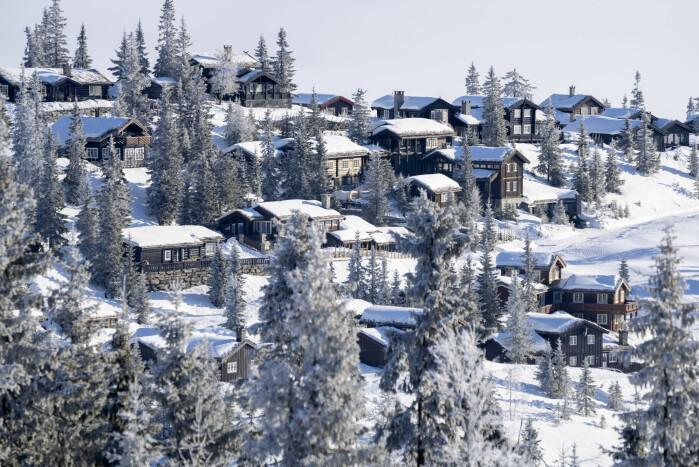 Den norske gjennomsnittshytta var på 96 kvadratmeter i 2018. Bildet er av et hyttefelt på østsiden av Kvitfjell.