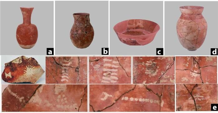Keramikk med malt dekor fra funnstedet Qiaotou.