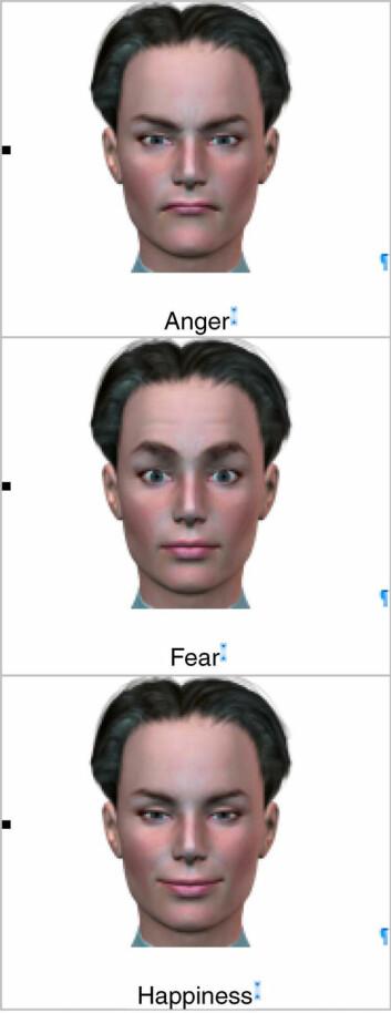 Androgyne ansikter med ulike uttrykk. Deltagerne på forsøket hadde lettere for å oppfatte det sinte ansiktet som en mann, mens frykten og gleden oftere ble damer. (Copy: Ursula Hess)