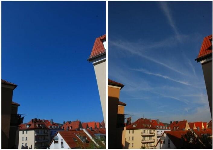 Kondensstriper kan danne et lag av cirrusskyer, som antydet her over Würzburg i Tyskland (Th.) Både kondensstriper og cirrusskyer fanger antagelig opp mer langbølget stråling på vei opp fra jorden enn solstråler på vei ned. På den måten bidrar de til et varmere klima på jorden. Bildet til venstre viser for øvrig himmelen over Würzburg da vulkanutbruddet på Island våren 2010 holdt tusenvis av fly på bakken. (Foto: Wikimedia Commons)