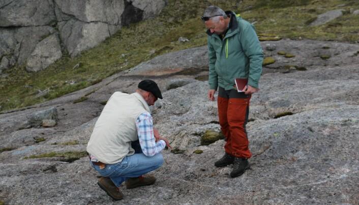 François Renard (til høyre) og Olivier Galland studerer steinstrukturer i nærheten av Nusfjord i Lofoten.
