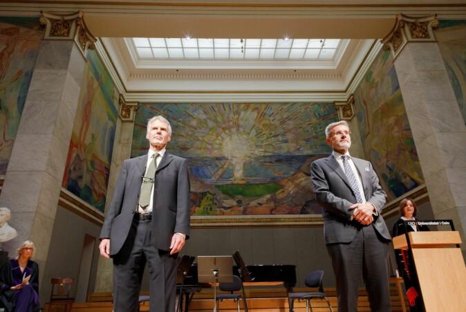 Professorene Andreas Føllesdal og Geir Ulfstein ble også nylig tildelt forskningsprisen ved UiO.