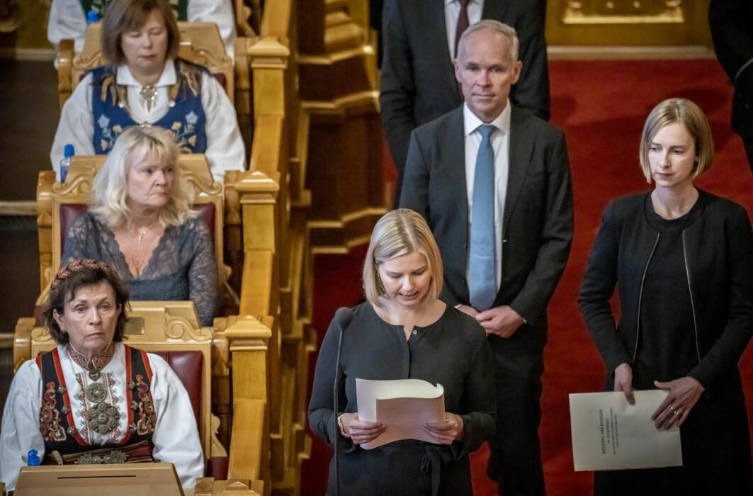 Rikspolitikere i Norge må gå gradene i et parti, fra kommunestyrer og oppover. I Norge er det nesten umulig for en politiker å gjøre karriere uten partiet sitt. Her fra den høytidelige åpningen av Stortinget i 2020.