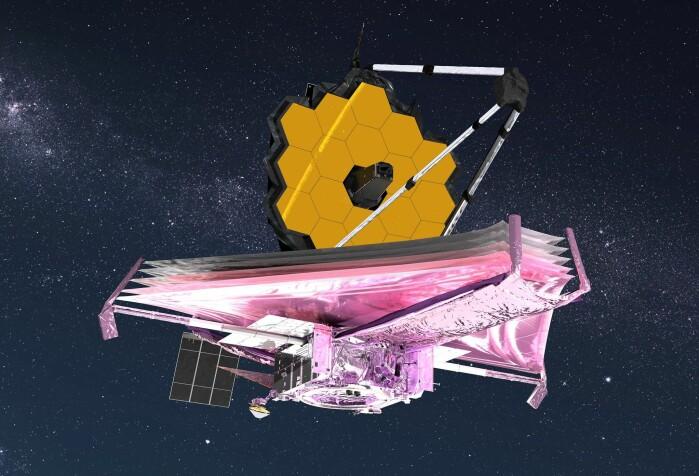 Omtrent slik vil romteleskopet se ut når det er på plass.