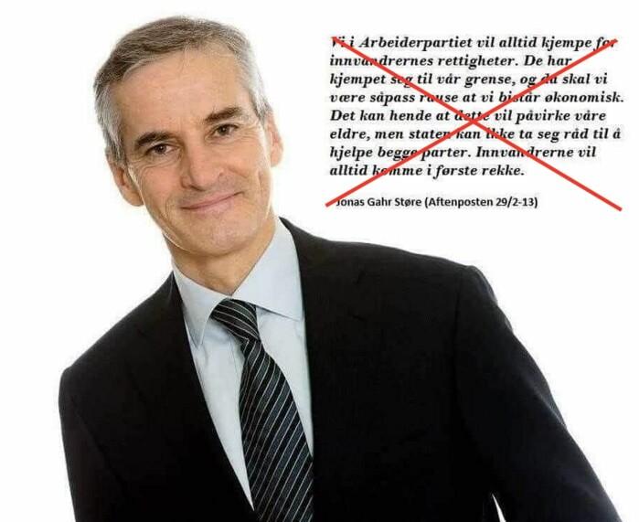 Et falskt sitat av Jonas Gahr Støre spres på Facebook.
