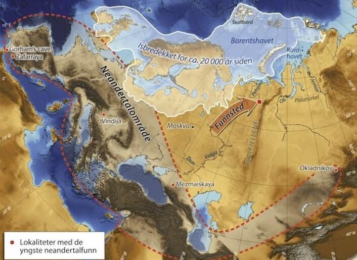 Tidligere mente forskere at den store iskappen som lå over Barentshavet på denne tiden bredde seg langt innover i Russland. Kartet viser isbredekket slik Mangerud og Svendsen og funnet at det var under den kaldeste fasen i istiden for 20-25.000 år siden. (Illustrasjon: Science/AAAS)