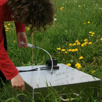 Måling av lystgass på forsøksfelt. (Foto: Anita Land)