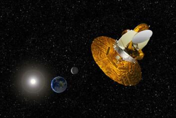 """""""NASAs satellitt WMAP har tatt det siste bildet av bakgrunnsstrålingen. Den ble sendt opp i 2001, og går i bane rundt Jorda fire ganger lengre ute enn Månen. (Illustrasjon: NASA/WMAP)"""""""